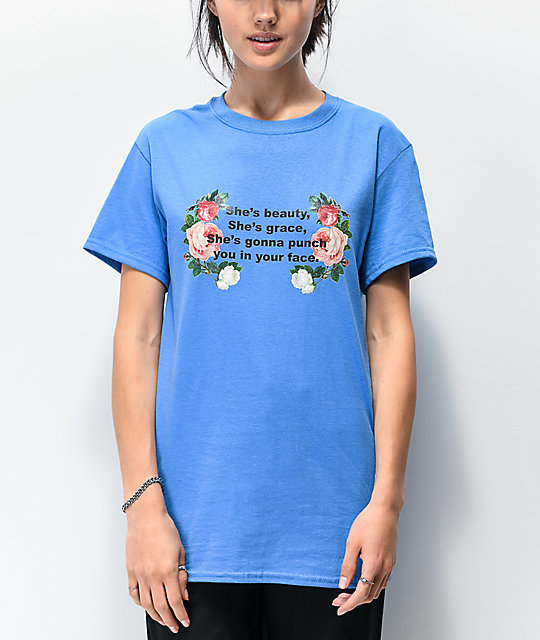 Daisy Street She's Beauty She's Grace Blue T-Shirt