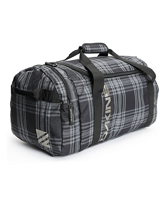 Columbia 51l Black Plaid Duffle Bag