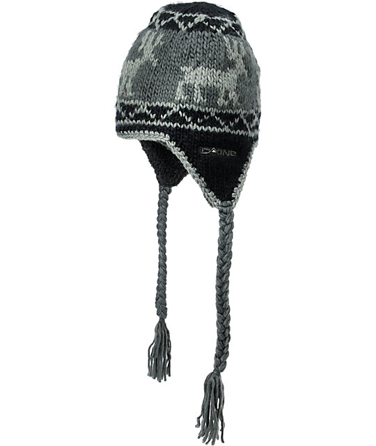 Dakine Elko Black & Grey Fleece Earflap Beanie