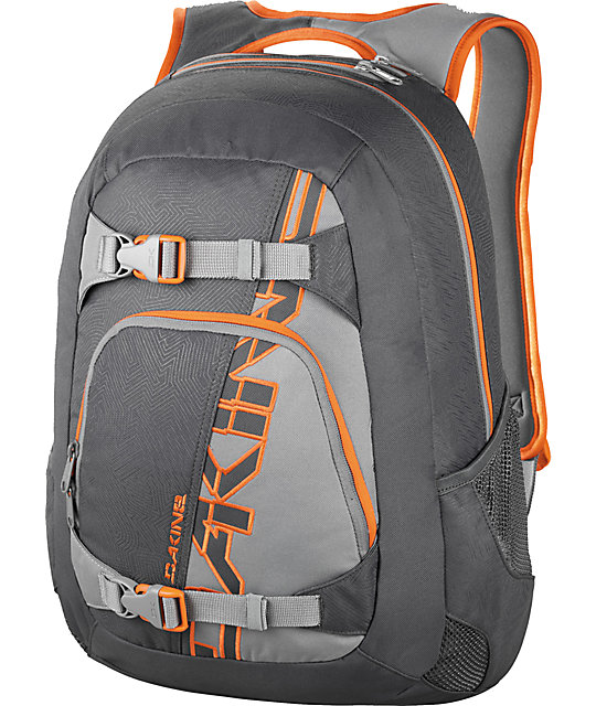 Dakine Explorer Charcoal & Orange Skate Backpack