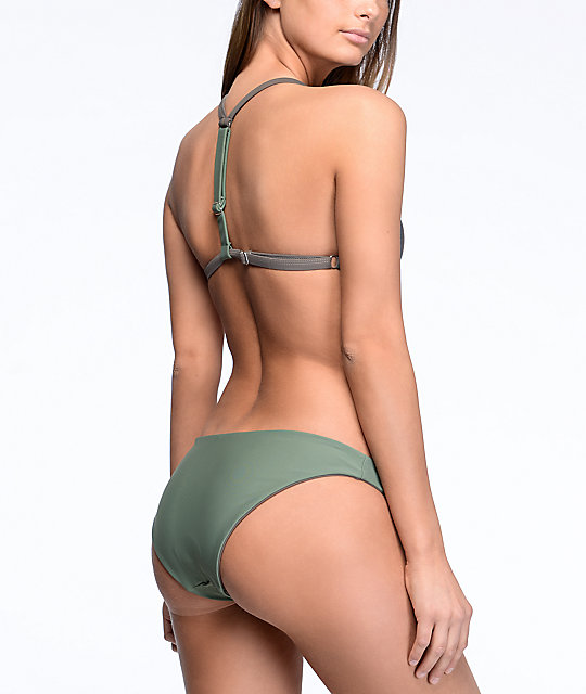 Damsel Army Green & Pebble Grey Reversible Cheeky Bikini Bottom