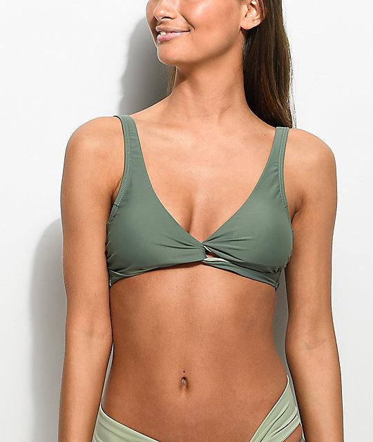 7ffa8303f0 Damsel Army Green Wrap Bikini Top