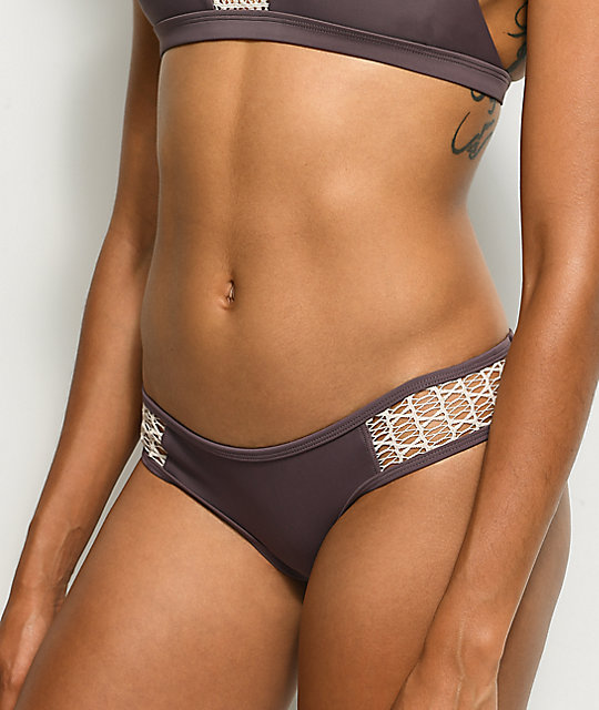 Damsel Bali Solid Purple Crochet Cheeky Bikini Bottom