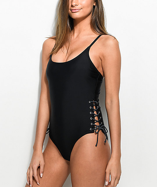 Damsel Black & Slate Lace Up Cheeky One Piece Swimsuit