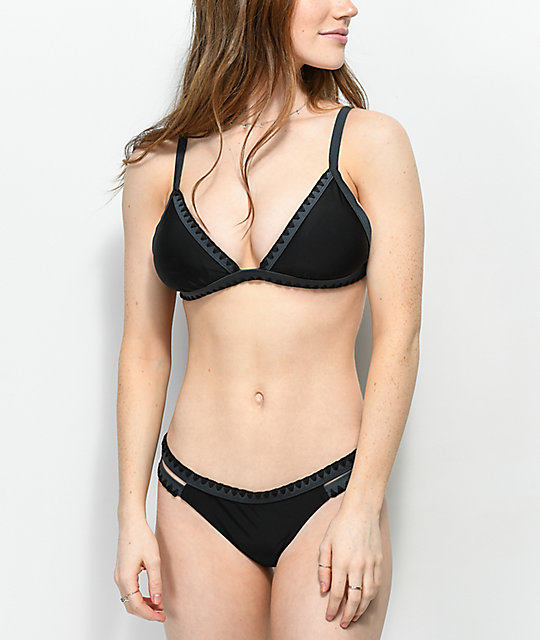 Damsel Blanket Stitch Black Triangle Bikini Top