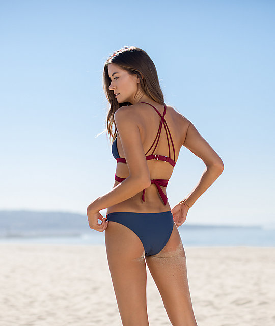 Damsel Blue & Red Strappy Cheeky Bikini Bottom