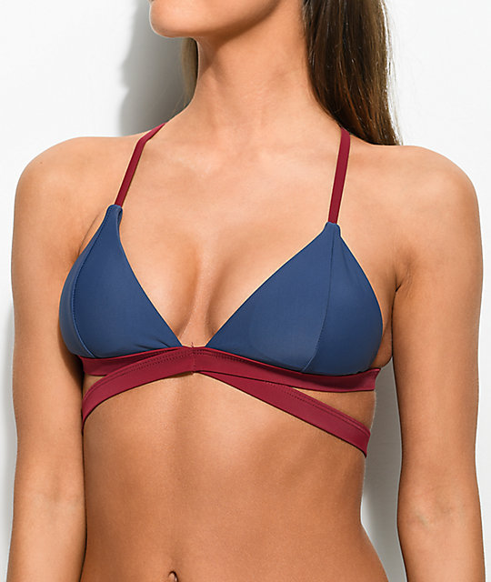 Damsel Blue & Red Strappy Triangle Bikini Top