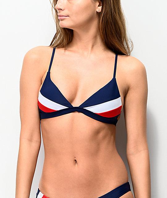d3e75a3d03097 Damsel Bright Navy Colorblock Triangle Bikini Top | Zumiez