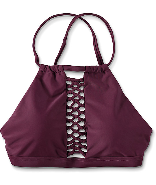 Damsel Caged Wine High Neck Bikini Top