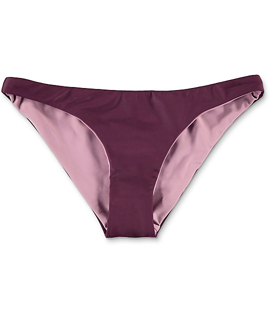 Damsel Cheeky bottom de bikini reversible en colores vino y malva