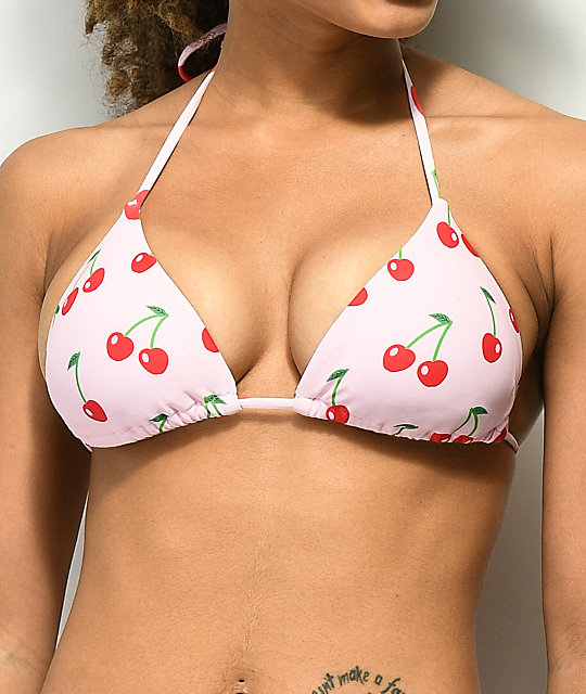 Damsel Cherries Light Pink Triangle Bikini Top