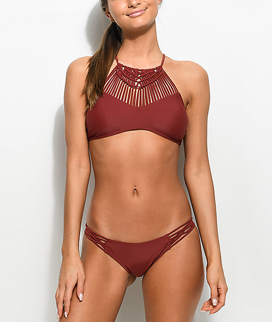 Damsel Desert Solid Pompeii High Neck Bikini Top