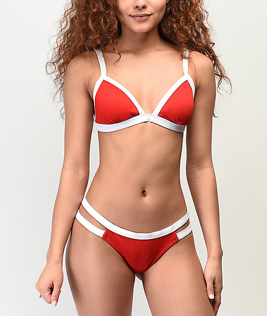 Damsel File Rib Red Lipstick Super Cheeky Bikini Bottom