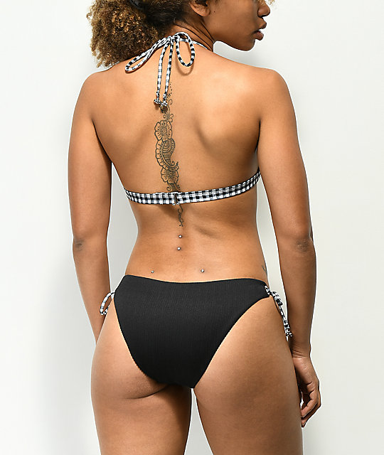 Damsel Gingham Ribbed Black Tie Side Cheeky Bikini Bottom