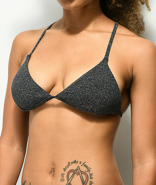 Damsel Grey Glitter Lurex Triangle Bikini Top