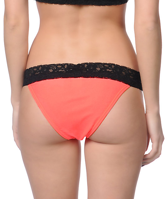 Damsel Hot Coral & Black Lace Bikini Bottom