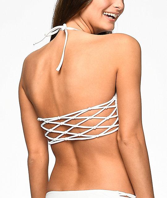 b39db2fecb ... Damsel Macrame White High Neck Bikini Top ...