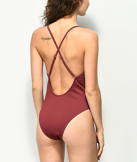 Damsel Mahogany Ribbed Button Up One Piece Swimsuit