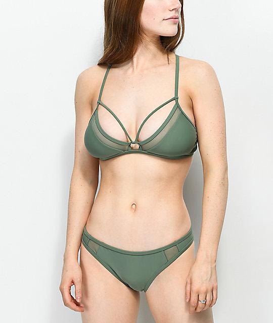95780a7336 Damsel Mesh Inset Olive Cheeky Bikini Bottom | Zumiez