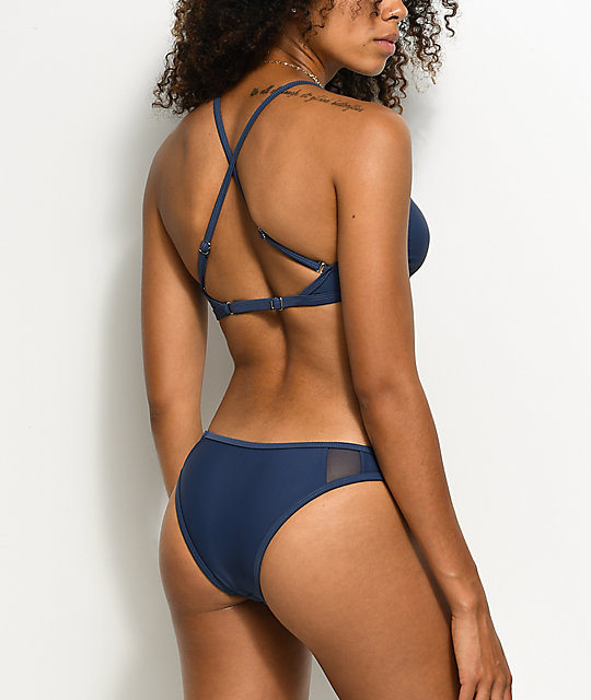 Damsel Mesh Side Blue Cheeky Bikini Bottom