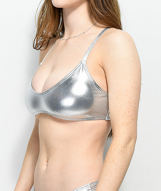 544d37d531b ... Damsel Metallic Silver Bralette Bikini Top ...