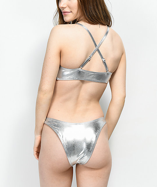 6da3e1c33e Damsel Metallic Silver High Cut Super Cheeky Bikini Bottoms | Zumiez