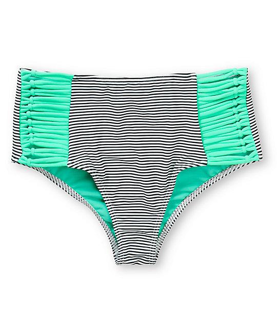 9bcd02a78a11e Damsel Mint Mini Stripe High Waisted Bikini Bottom | Zumiez
