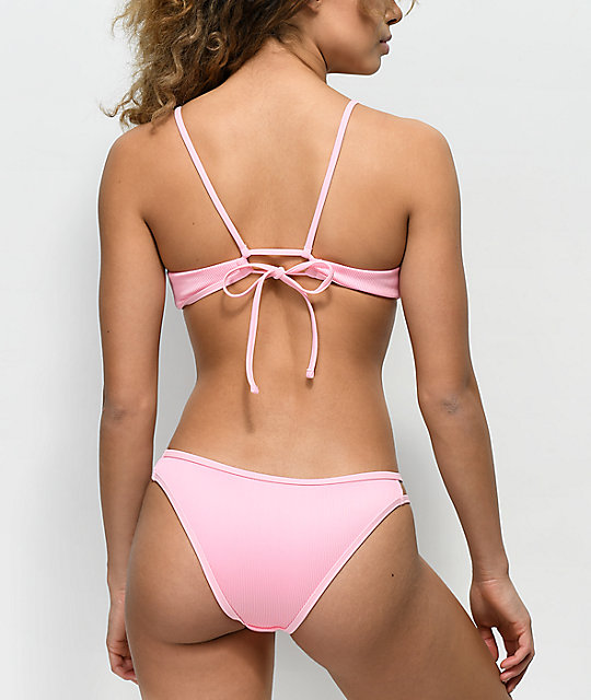 Damsel Ribbed Pink Super Cheeky Bikini Bottom