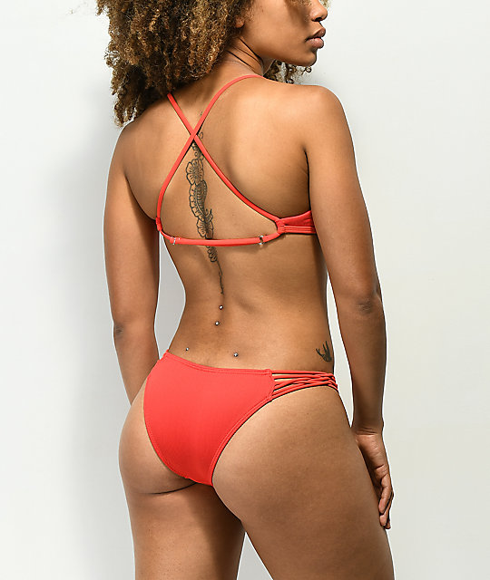 Damsel Scintilla Ribbed Red Super Cheeky Bikini Bottom