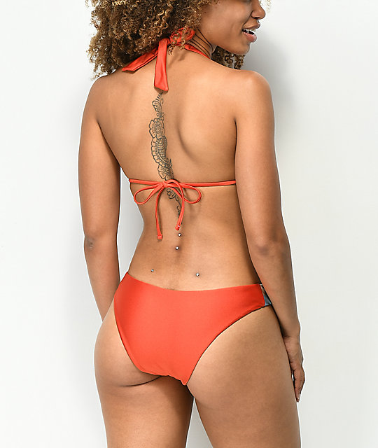 Damsel Shimmer Burnt Red, Blue & White Cheeky Bikini Bottom