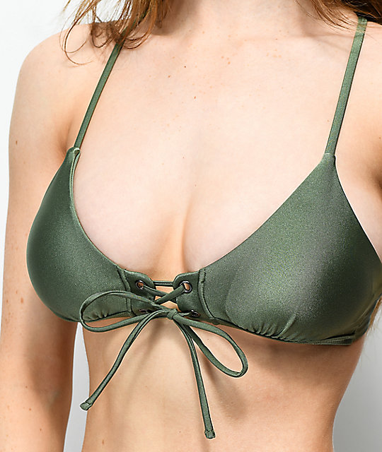 Damsel Shimmer Olive Lace Up Bralette Bikini Top