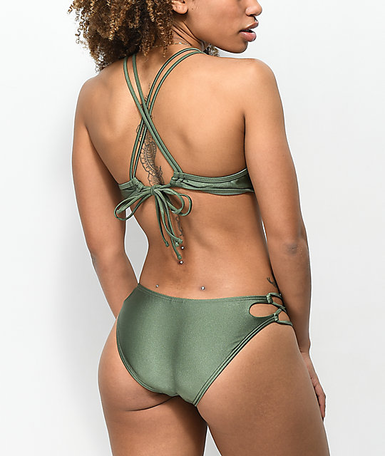 Damsel Shimmer Olive Side Loop Cheeky Bikini Bottom