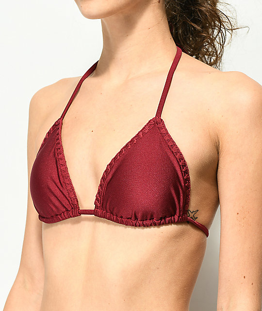 Damsel Shimmer Wine Blanket Stitch Triangle Bikini Top