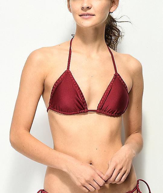 1e8e535a09 Damsel Shimmer Wine Blanket Stitch Triangle Bikini Top   Zumiez