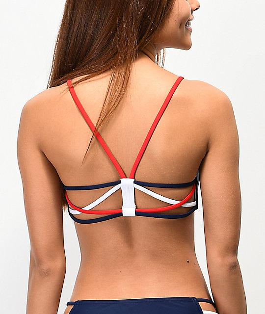 d89f51e3f0 Damsel Strappy Red, White, & Navy Blue Bralette Bikini Top | Zumiez