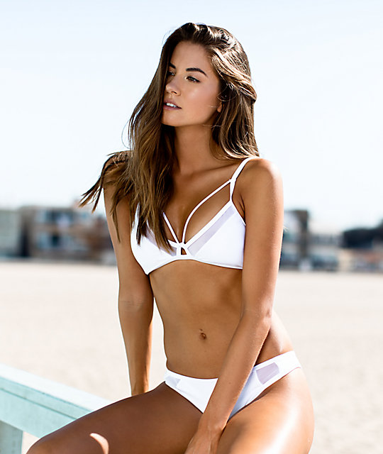 3ae4b745deb9c ... Damsel White Mesh Triangle Bralette Bikini Top