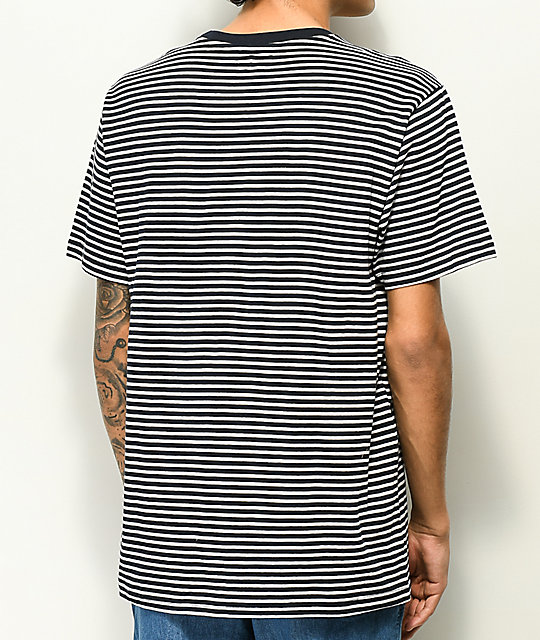 Dark Seas Canberra Navy & White Stripe Knit T-Shirt