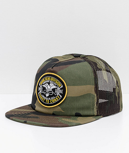 Dark Seas Carrier Green camo Snapback Hat