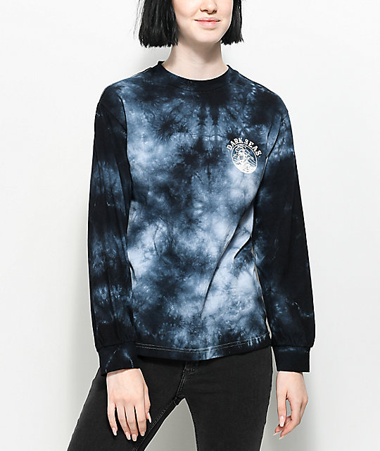 Dark Seas Cold Current camiseta negra de manga larga con efecto tie dye