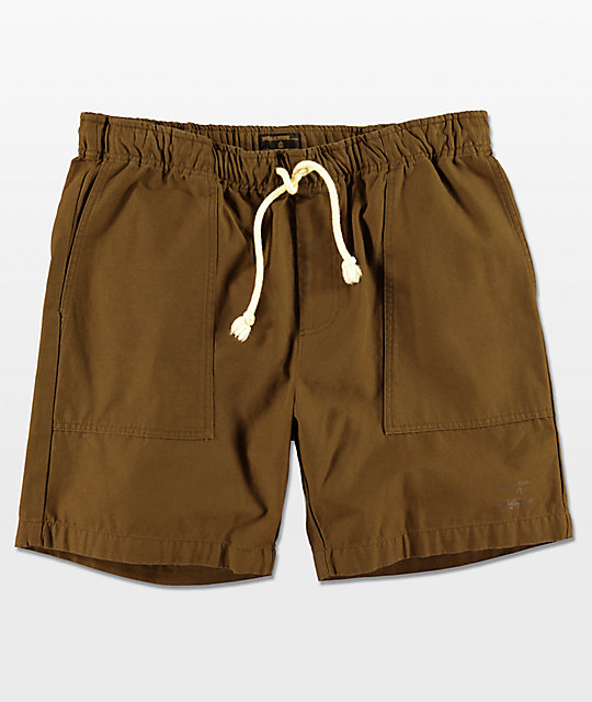 Dark Seas Crewman Easy Waist Shorts en verde olivo