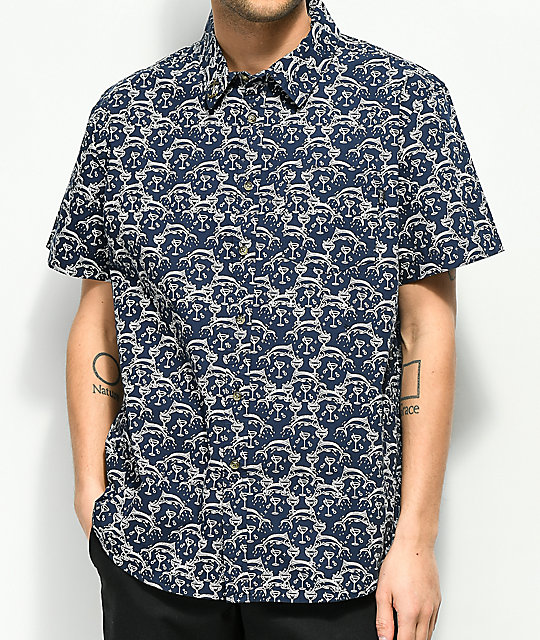 Dark Seas Cutty Printed Navy Short Sleeve Button Up Shirt