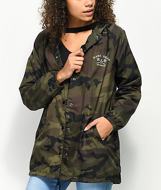 Dark Seas Division Hooded Camo Coaches Jacket