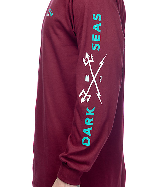Dark Seas Head Master Burgundy Long Sleeve T-Shirt