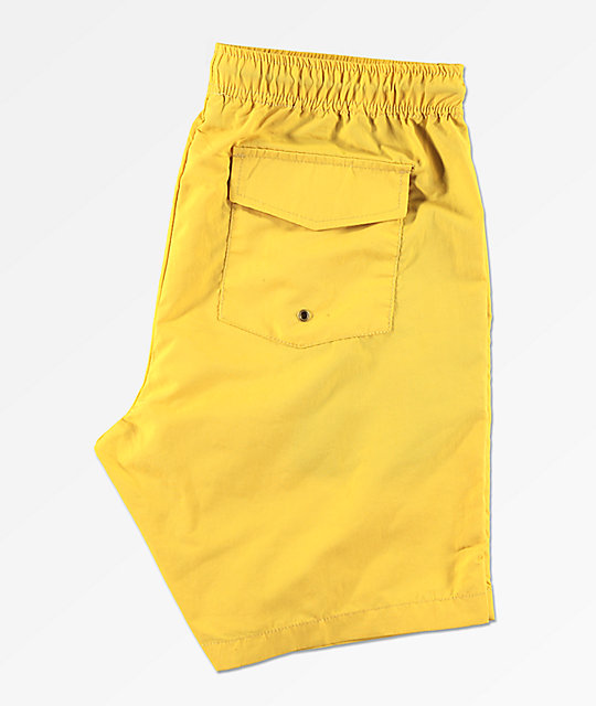 Dark Seas Landfall Yellow Elastic Waist Board Shorts