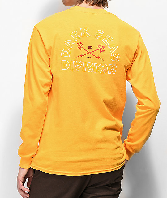 Dark Seas Outlines Gold Long Sleeve T-Shirt