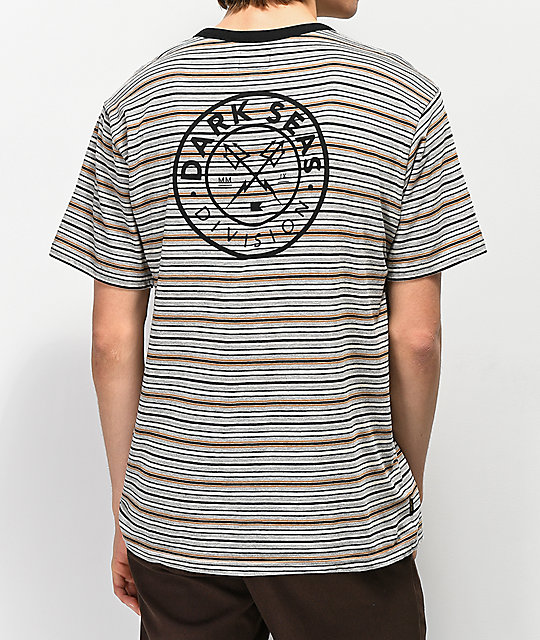 Dark Seas Pierce Striped Grey Knit T-Shirt