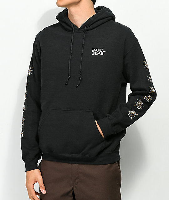 Dark Seas Rose 2 Black Hoodie