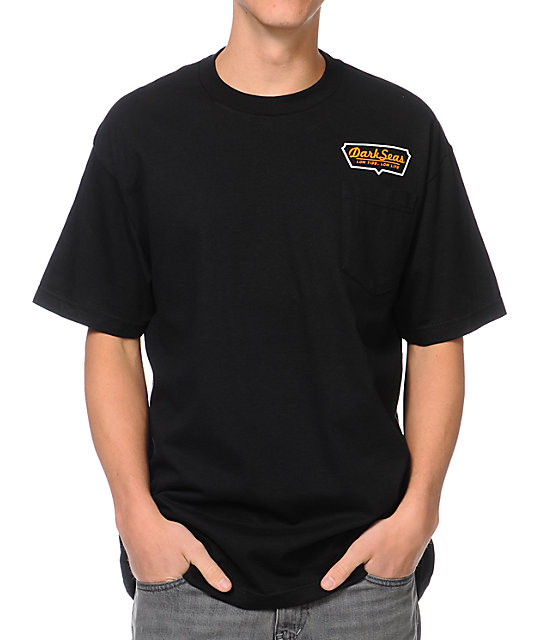 Dark Seas Stern Black Pocket T-Shirt