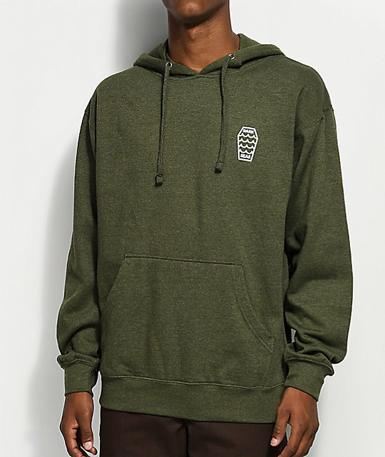 Dark Seas Swell Heather Olive Hoodie