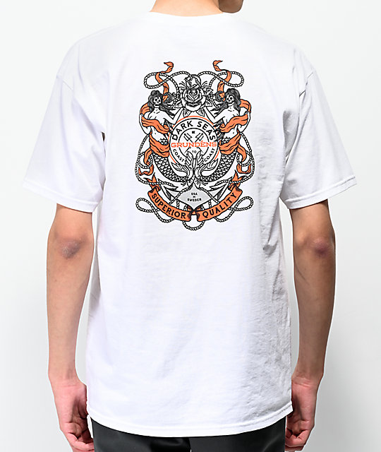 Dark Seas x Grundens Anchored camiseta blanca